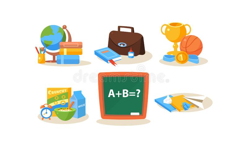 Skola- och utbildningssymboler ställde in, olika skolatillförsel, tillbaka till skolavektorillustrationen på en vit bakgrund stock illustrationer