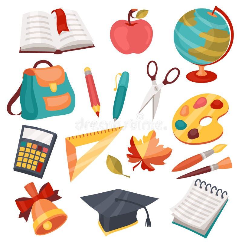 Skola- och utbildningssymboler, symboler, objekt ställde in royaltyfri illustrationer