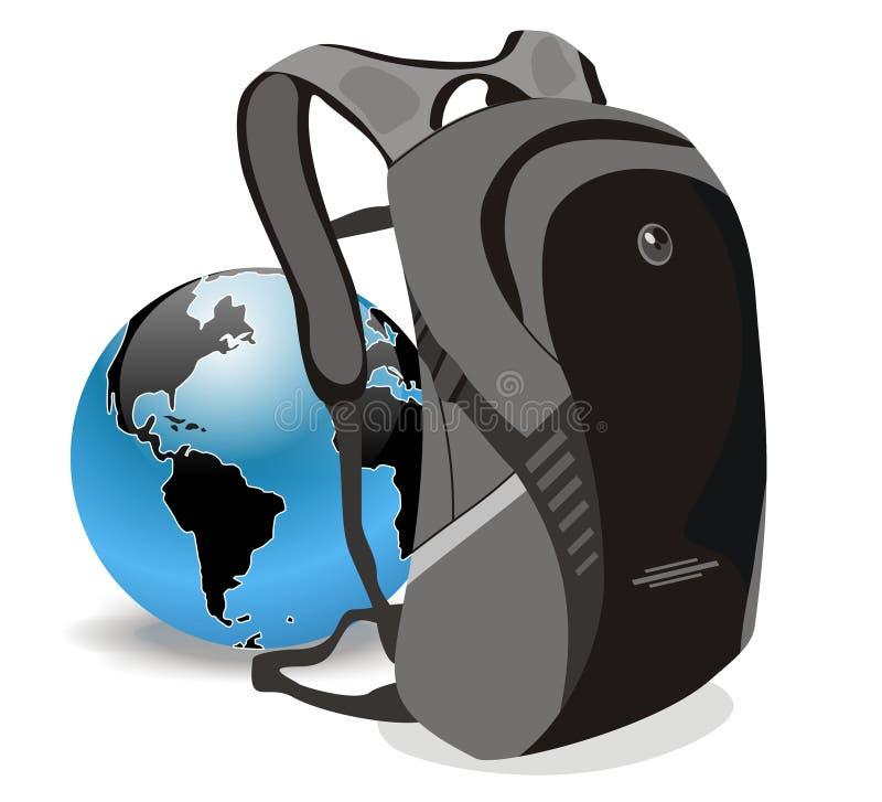 Skola och värld för vektorutbildningspåse stock illustrationer