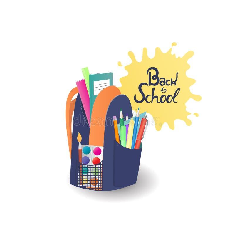 Skola ryggsäcken med anteckningsböcker, målarfärger, tillförsel för att dra tillbaka begreppsskola till stock illustrationer