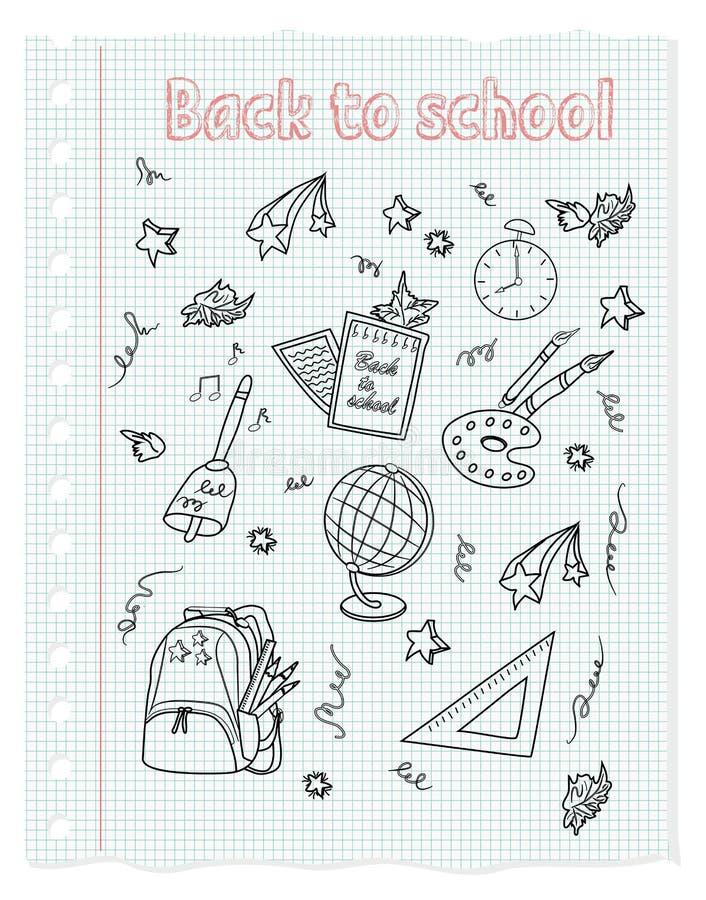 Skola svartvita beståndsdelar på ett ark av papper i en ask fo stock illustrationer