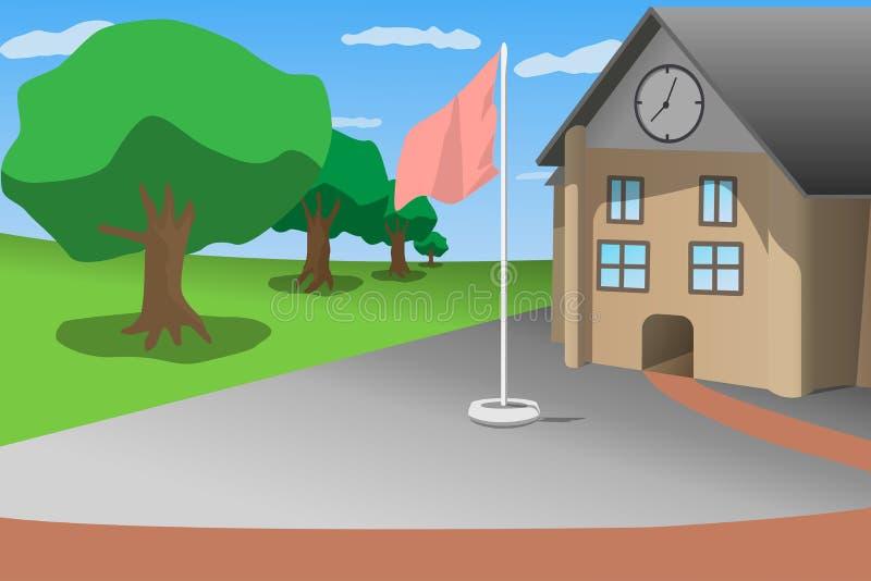 Skola trädet för gräsplan för blå himmel för den främre sikten och flaggstången, illustration för tecknad filmstilvektor stock illustrationer