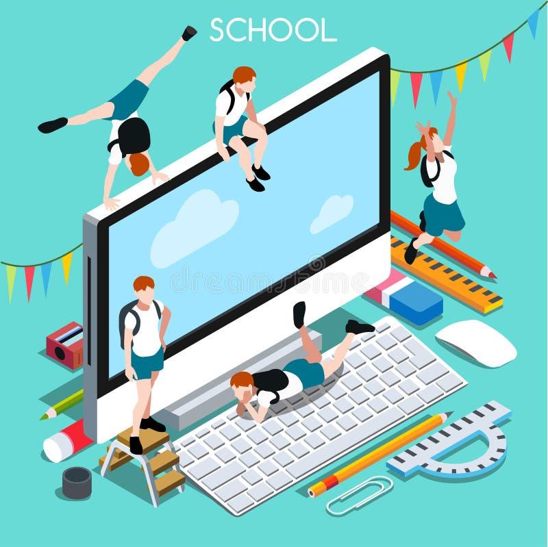 Skolaapparater 02 isometriska personer royaltyfri illustrationer