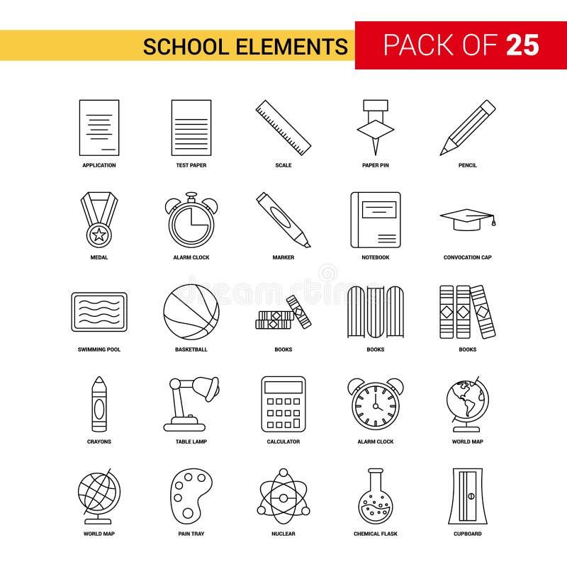 Skolabeståndsdelar svärtar linjen symbolen - för översiktssymbol för 25 affär uppsättning royaltyfri illustrationer