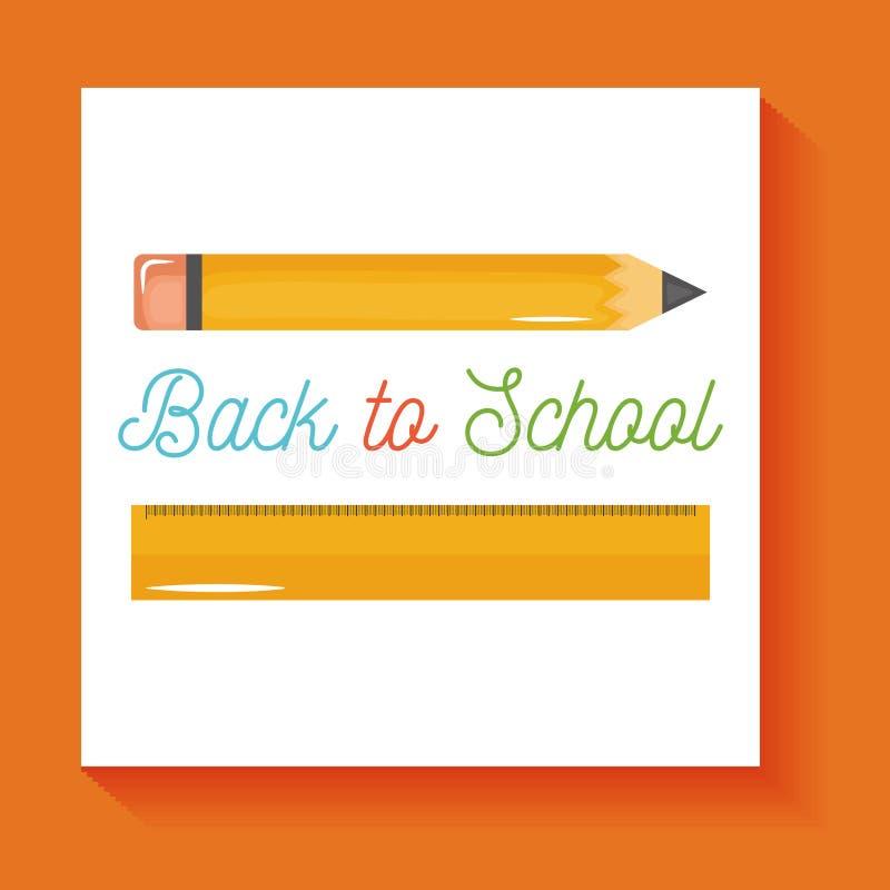 Skolablyertspenna och isolerad symbol för regel tillförsel stock illustrationer