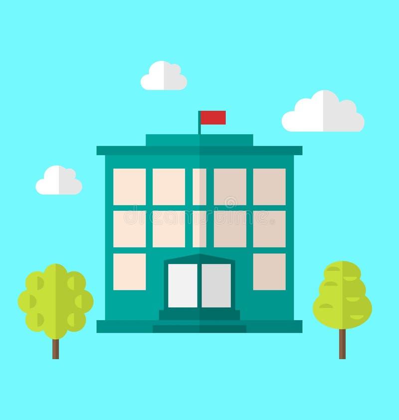 Skolabyggnad, Cityscape stock illustrationer