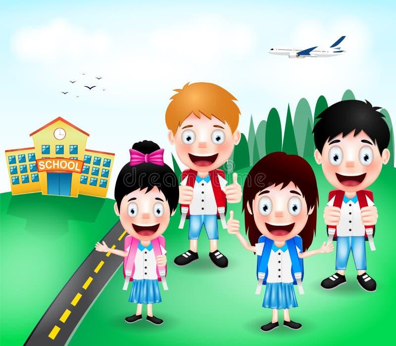 Skolabyggnad med lyckliga gulliga tecken och flygplanet för små ungar stock illustrationer
