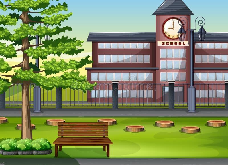 Skolabyggnad och lekplats royaltyfri illustrationer