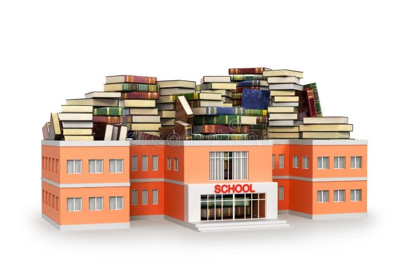 Skolabyggnad som fylls med böcker royaltyfri illustrationer
