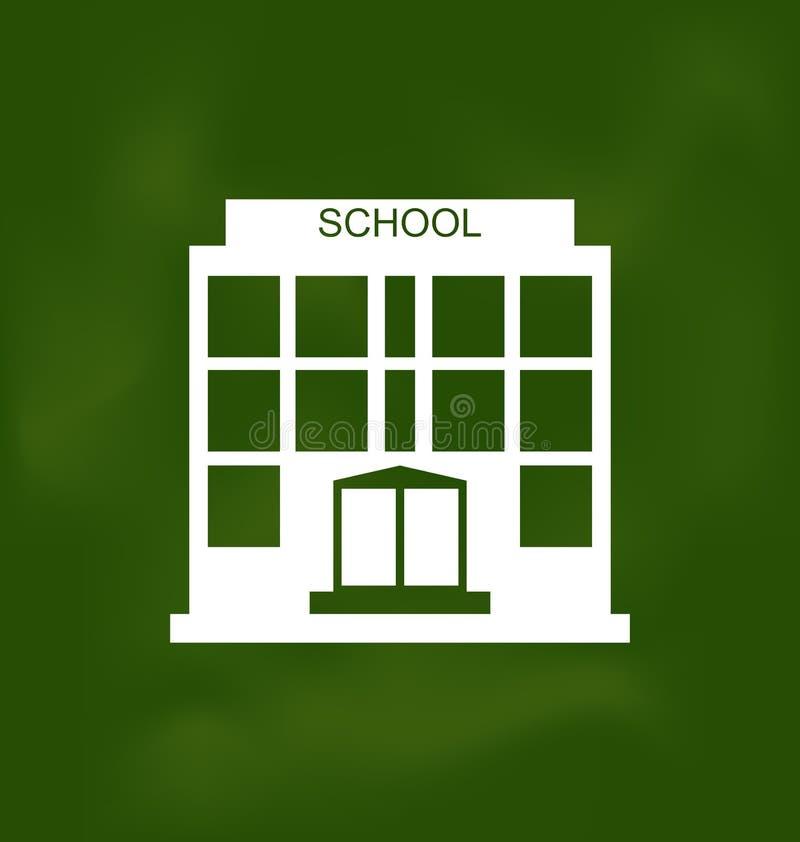 Skolabyggnad som målas med krita på svart tavla stock illustrationer