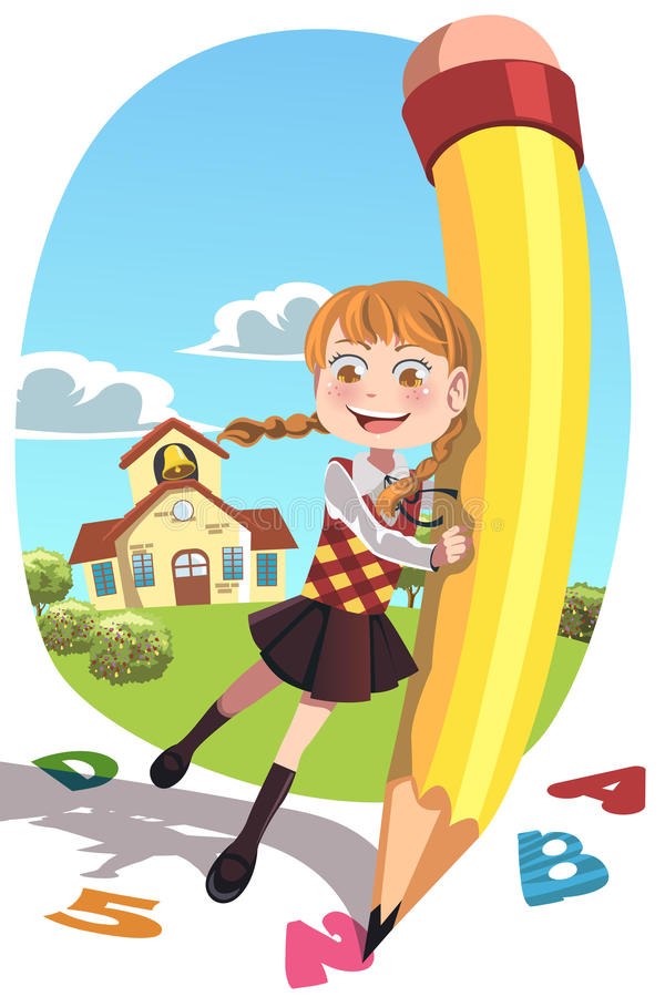 Skolaflicka med blyertspennan stock illustrationer