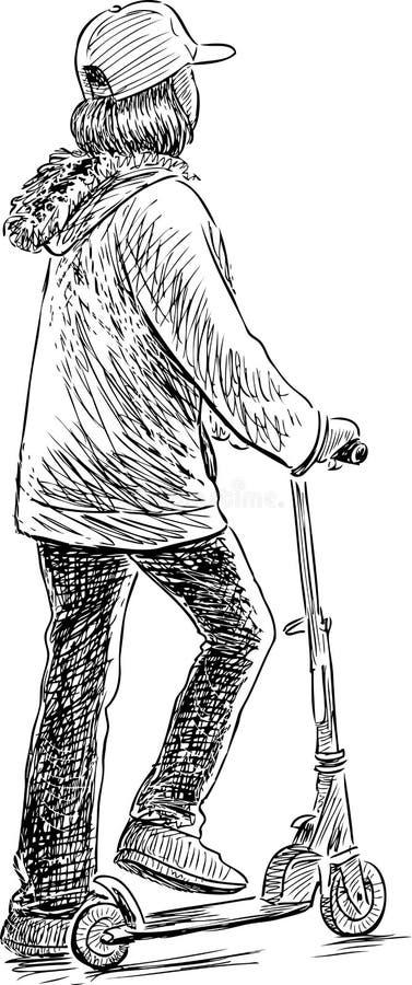 Skolaflicka med sparkcykeln stock illustrationer