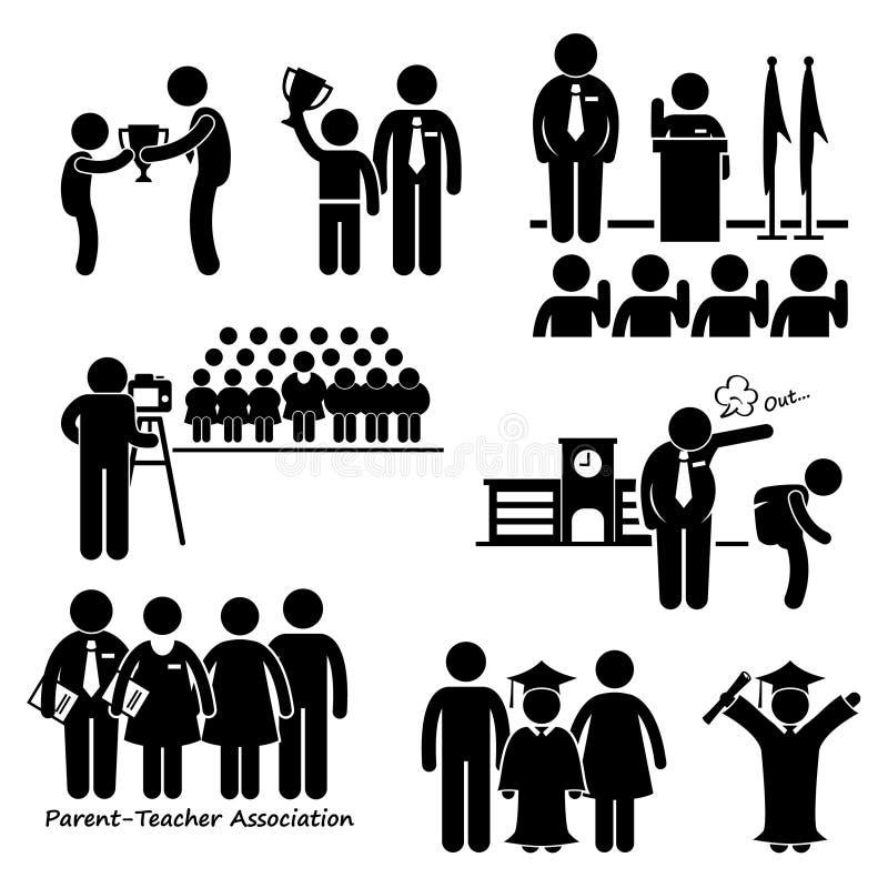 Skolahändelser Clipart royaltyfri illustrationer