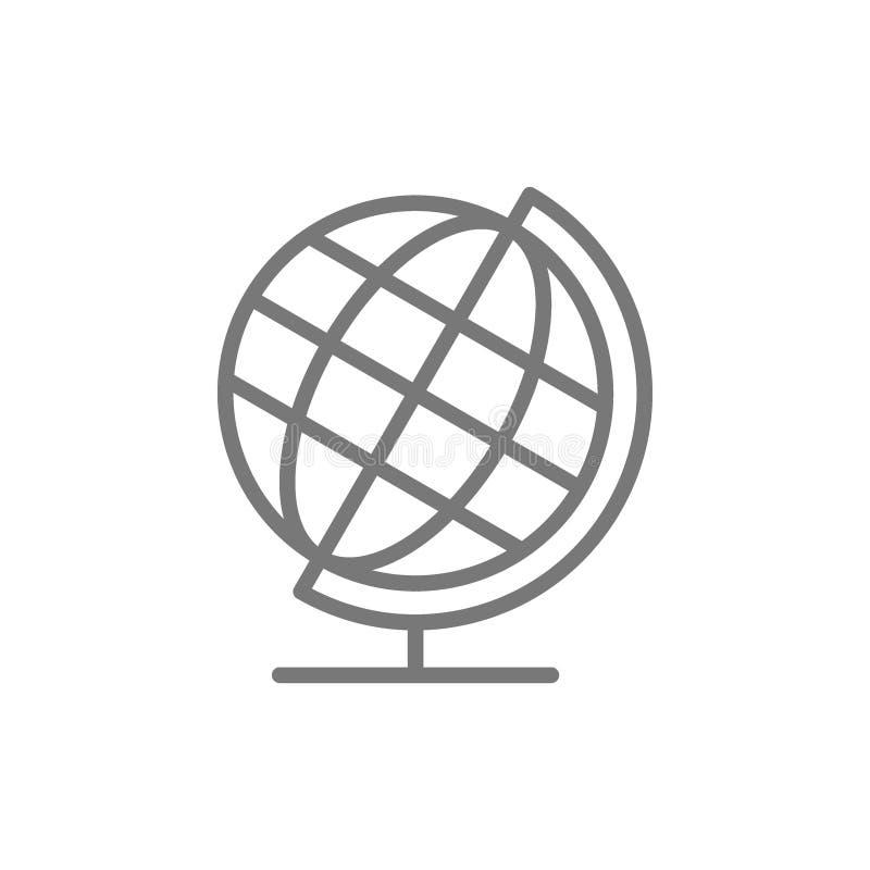 Skolajordklot, linje symbol f royaltyfri illustrationer