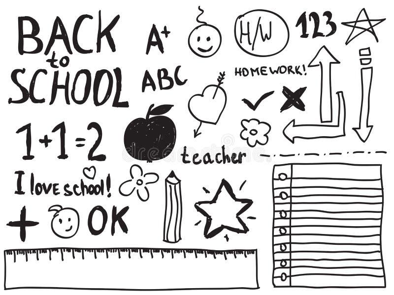 Skolaklotter stock illustrationer