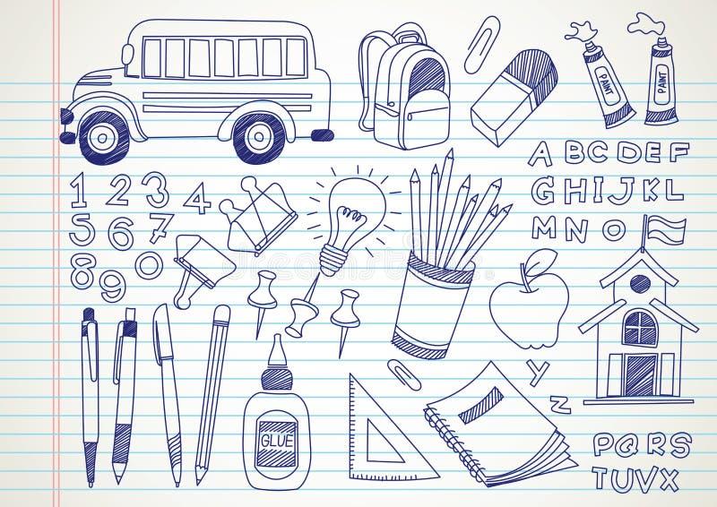 Skolaklotter royaltyfri illustrationer
