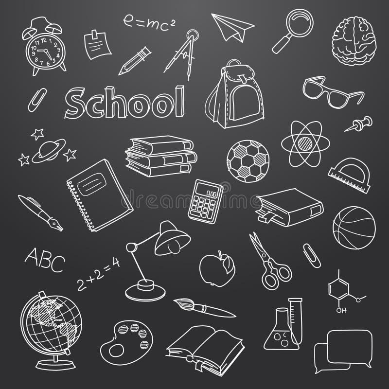 Skolaklotter på en svart tavlavektorbakgrund vektor illustrationer