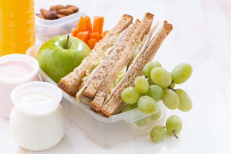 Skolalunch med smörgåsar, frukt och yoghurten, närbild royaltyfri fotografi