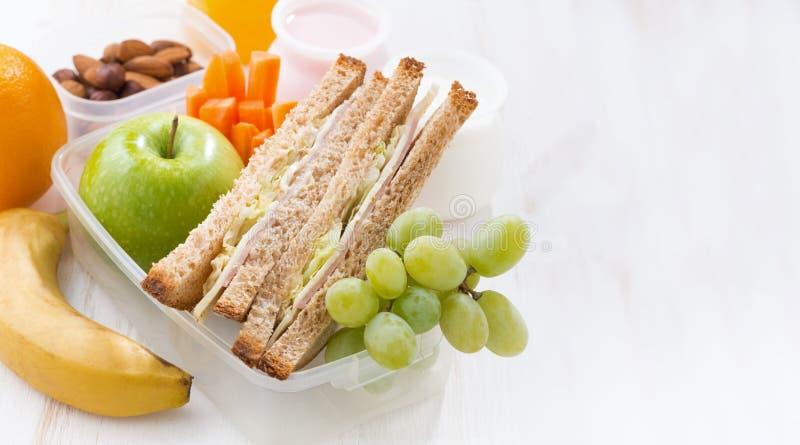 Skolalunch med smörgåsar och frukt på vit bakgrund arkivbild