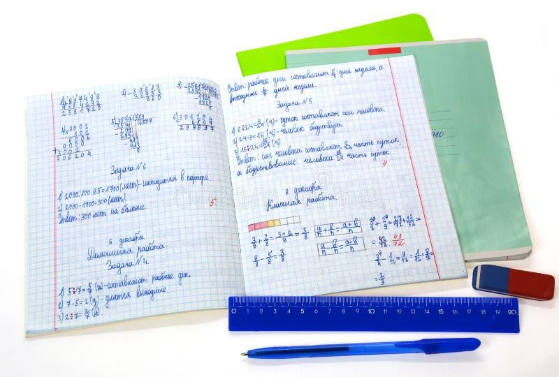 Skolamatematikanteckningsbok royaltyfri bild