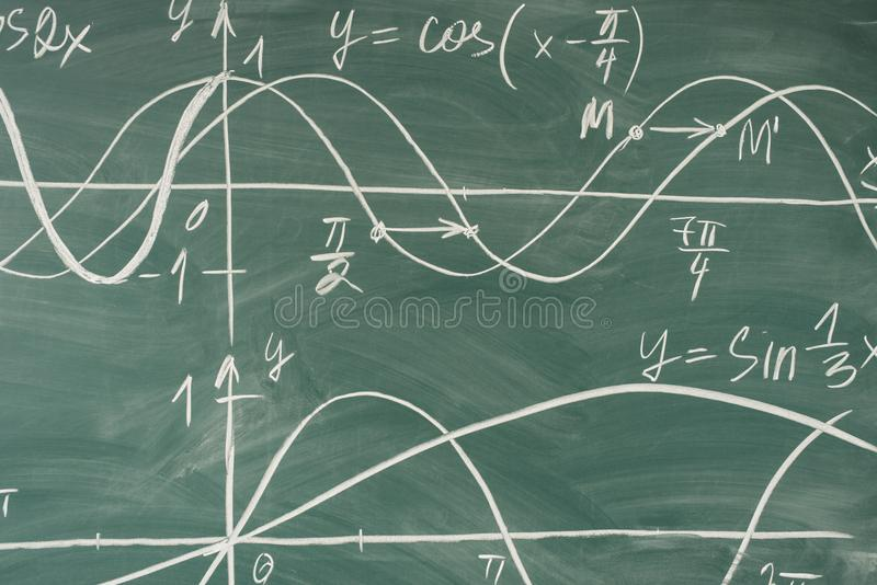 Skolamatematikkurs trigonometry Svart tavlafunktionsgrafer royaltyfri bild