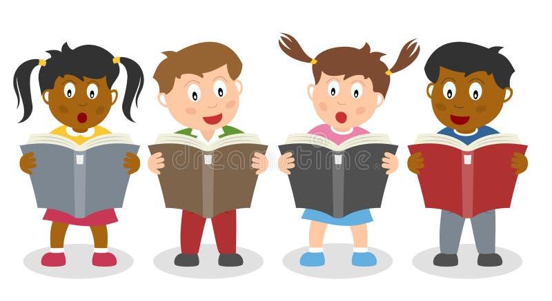 Skolan lurar läsa en bok royaltyfri illustrationer