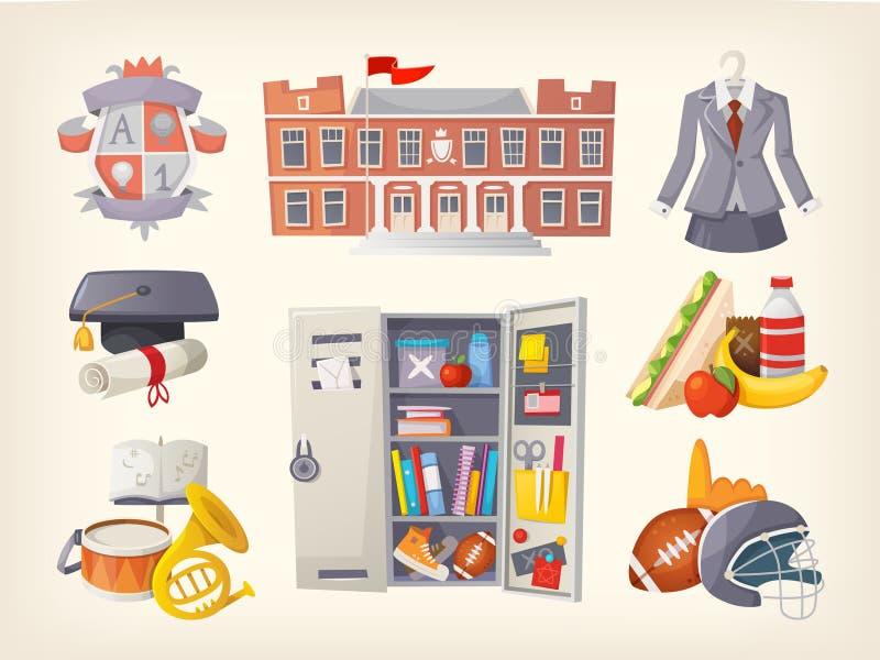 Skolaobjekt och klistermärkear royaltyfri illustrationer