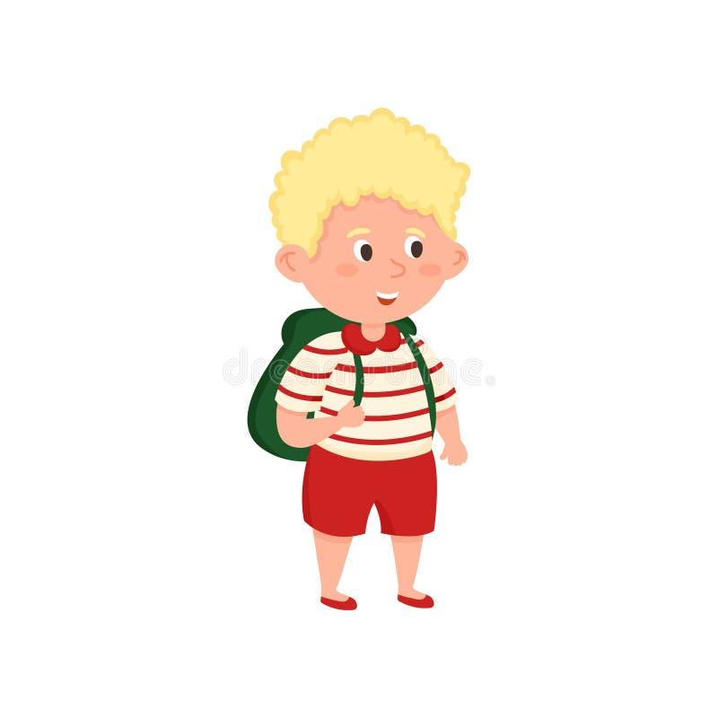 Skolapojke för blont hår med röda kortslutningar och den randiga tshirten vektor illustrationer