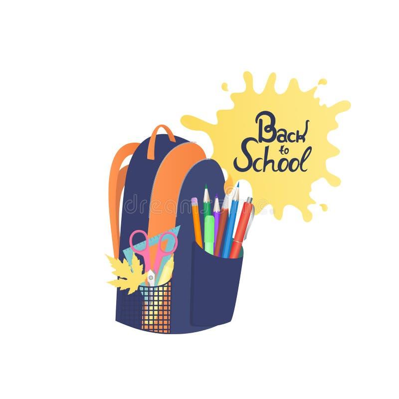 Skolaryggsäck med anteckningsböcker och brevpapper Dra tillbaka till skolahandbokstäver royaltyfri illustrationer