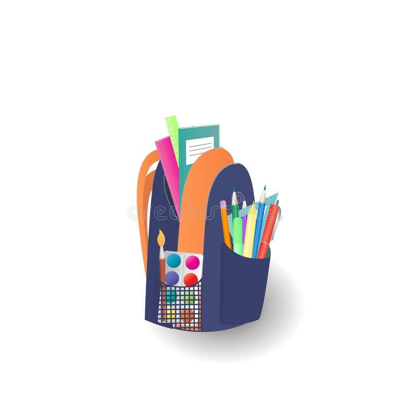 Skolaryggsäck med anteckningsböcker och brevpapper tillbaka begreppsskola till royaltyfri illustrationer