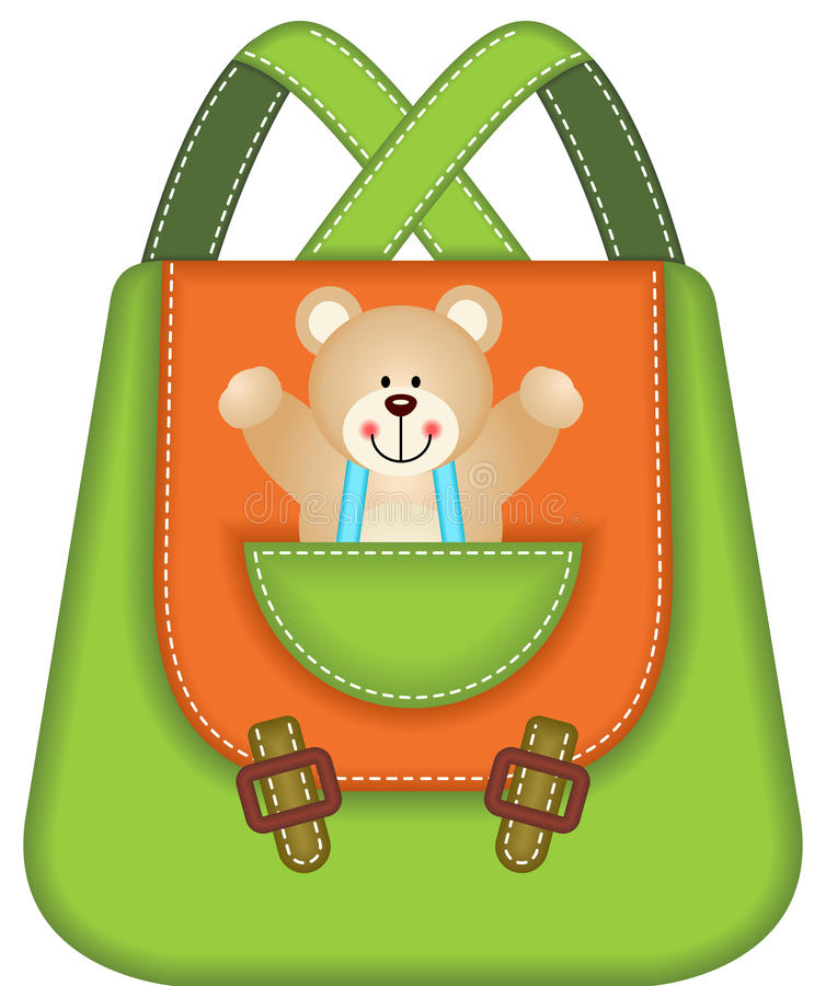 Skolaryggsäck Teddy Bear stock illustrationer