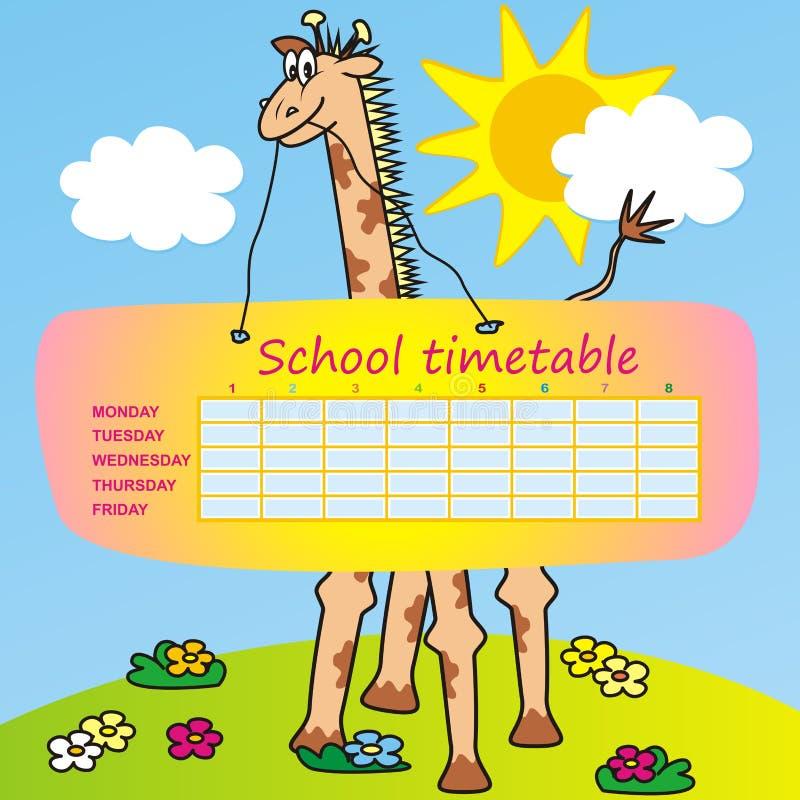 Skolaschema, giraff, vektorsymbol vektor illustrationer