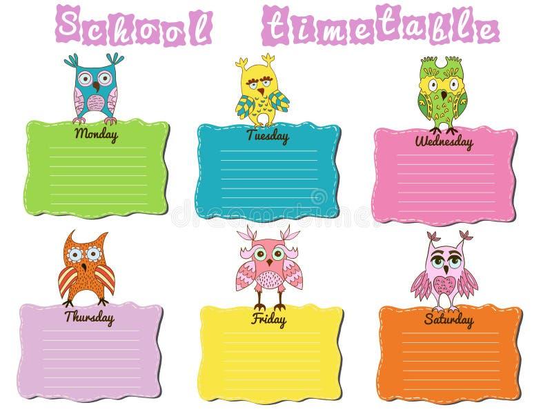 Skolaschema med färgrika ugglor stock illustrationer