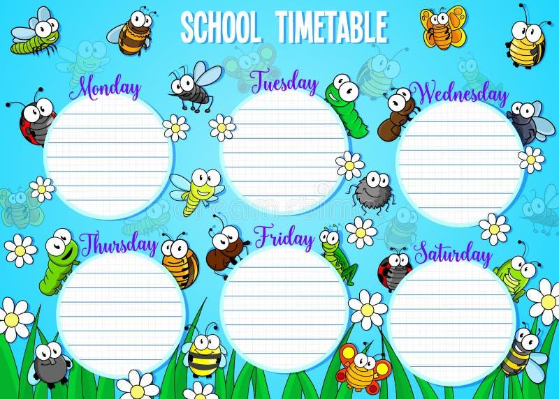 Skolaschema med tecknad filmfel och kryp royaltyfri illustrationer