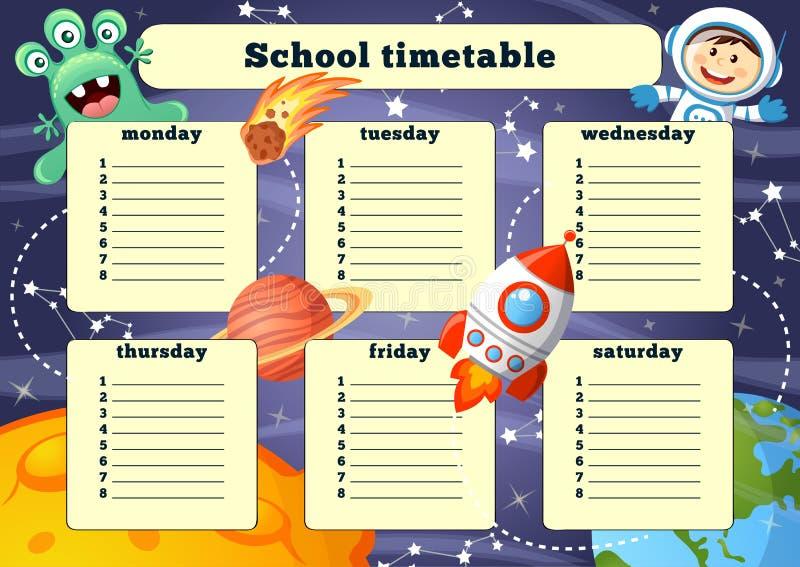 Skolaschema med utrymmebeståndsdelar stock illustrationer