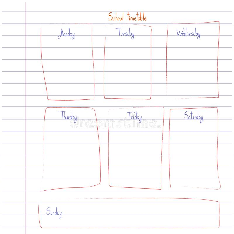 Skolaschemamall p? kopieringsbokarket med skriftlig text f?r hand Veckokursshedule i knapphändig stil som dekoreras med handen vektor illustrationer
