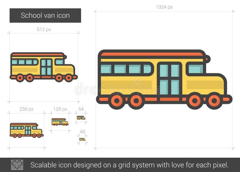 Skolaskåpbillinje symbol vektor illustrationer
