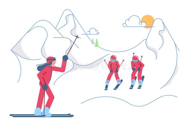 Skolaskidåkare på vinterberglandskap royaltyfri illustrationer
