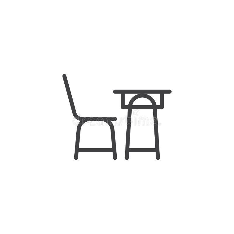 Skolaskrivbord och en stollinje symbol royaltyfri illustrationer