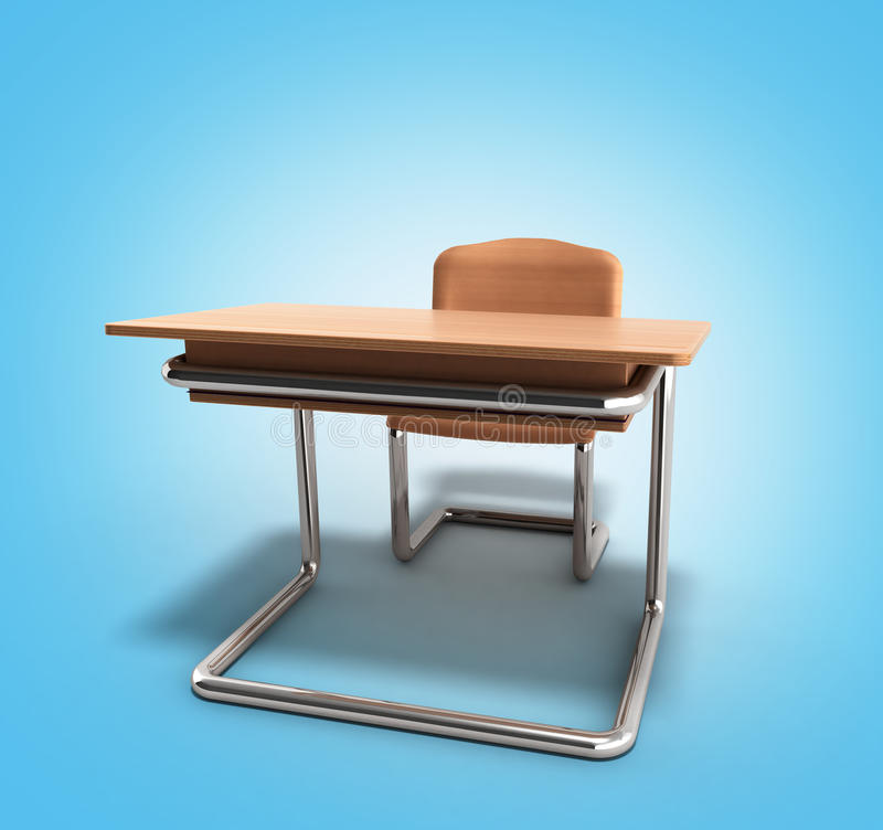 Skolaskrivbordet och stol 3d framför på blå lutningbakgrund vektor illustrationer