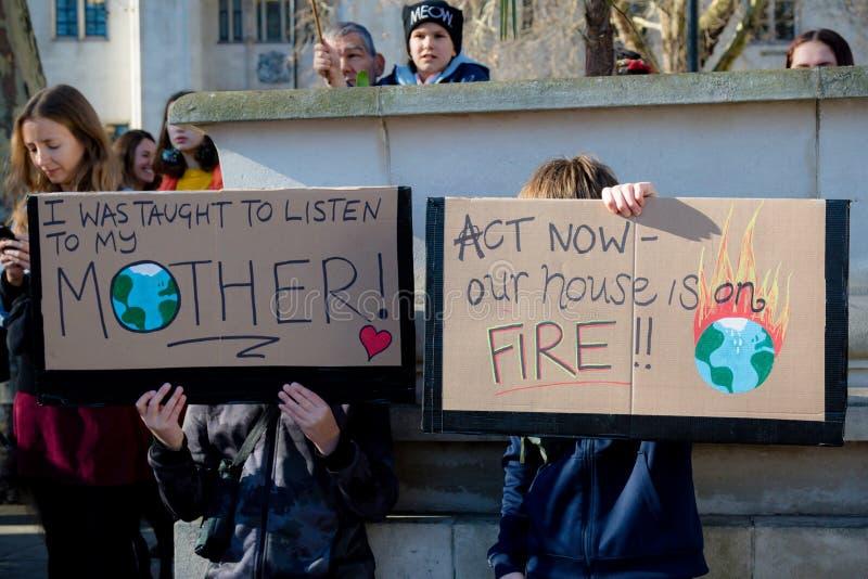 Skolaslag för klimatförändring royaltyfria bilder
