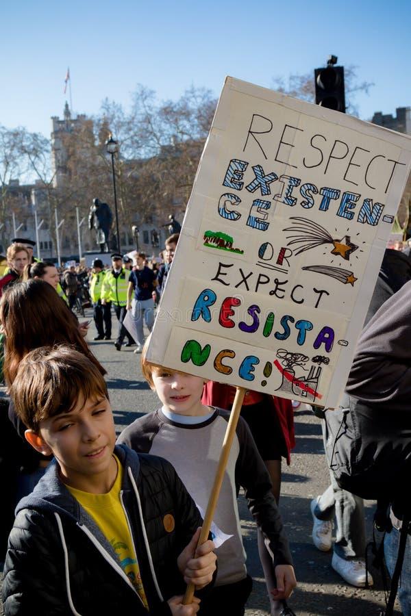 Skolaslag för klimatförändring royaltyfri fotografi