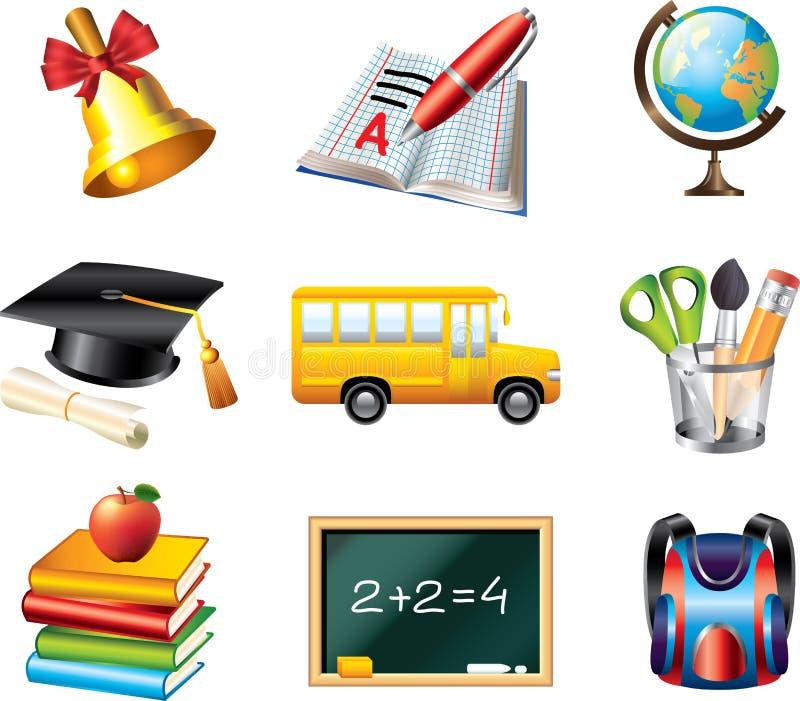 Skolasymbolsuppsättning stock illustrationer
