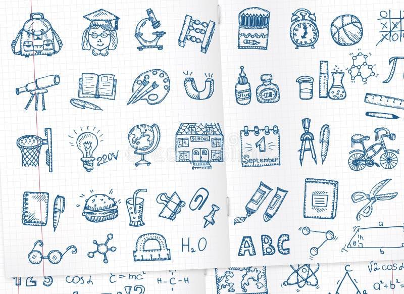 Skolasymbolsuppsättning royaltyfri illustrationer
