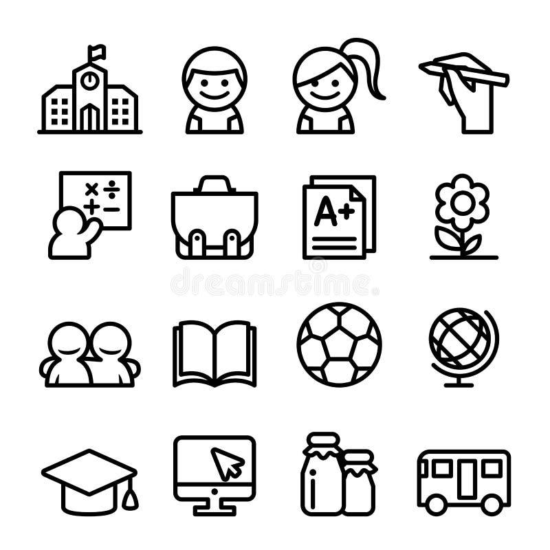 Skolasymbolsuppsättning i den tunna linjen illustration för stilsymbolsvektor royaltyfri illustrationer