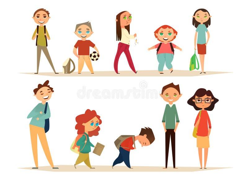 Skolateckenuppsättning Tecknad filmtecken för din design Plan design går ungeskolan till stock illustrationer