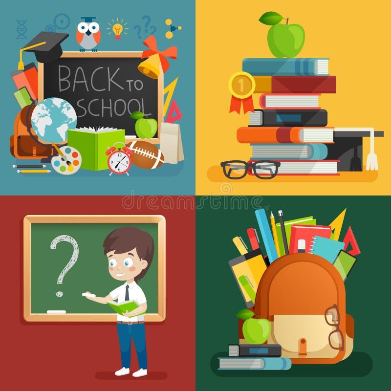 Skolatemauppsättning Dra tillbaka till skolan, ryggsäcken, skolpojken och andra beståndsdelar vektor illustrationer