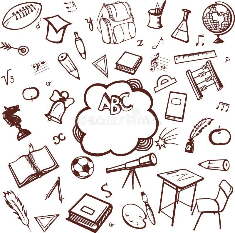 Skolatillbehör stock illustrationer