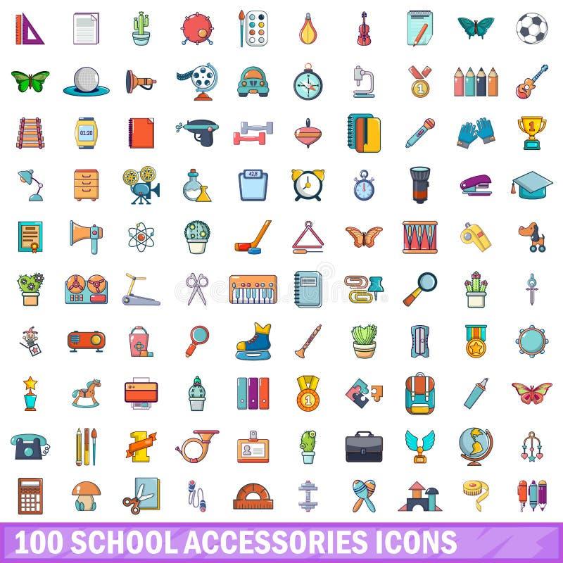 100 skolatillbehörsymboler uppsättning, tecknad filmstil vektor illustrationer