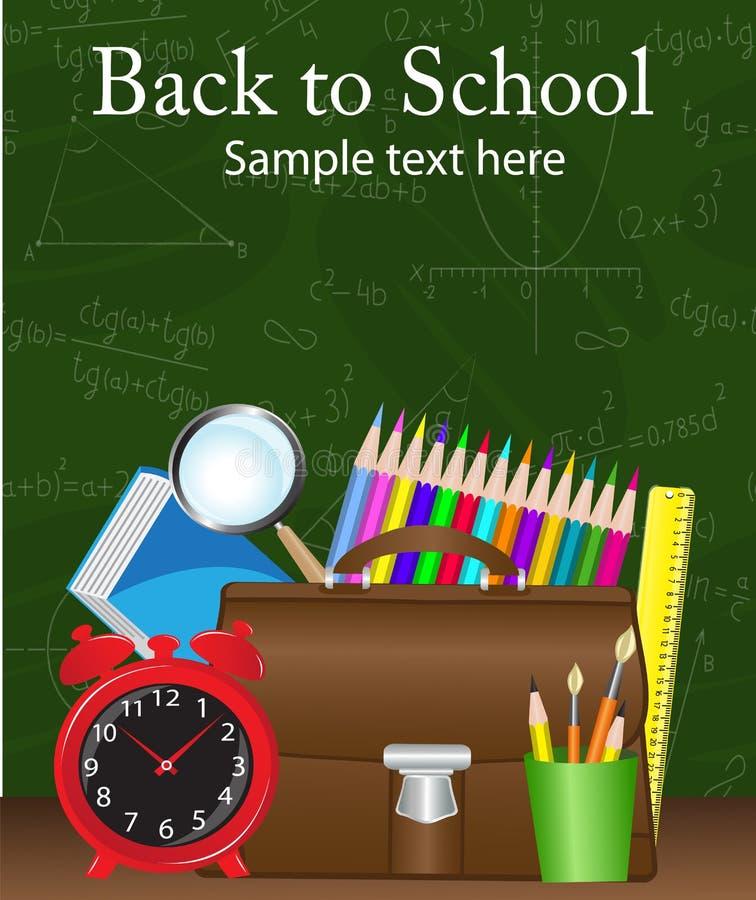 Skolatillförsel på bakgrunden stock illustrationer